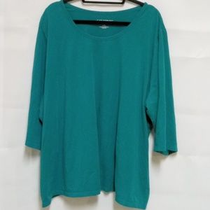 Catherines Womens Sz 4X Plus Green Knit Top D26